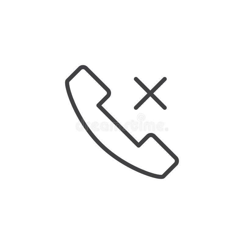 Brakująca rozmowa telefonicza konturu ikona ilustracji