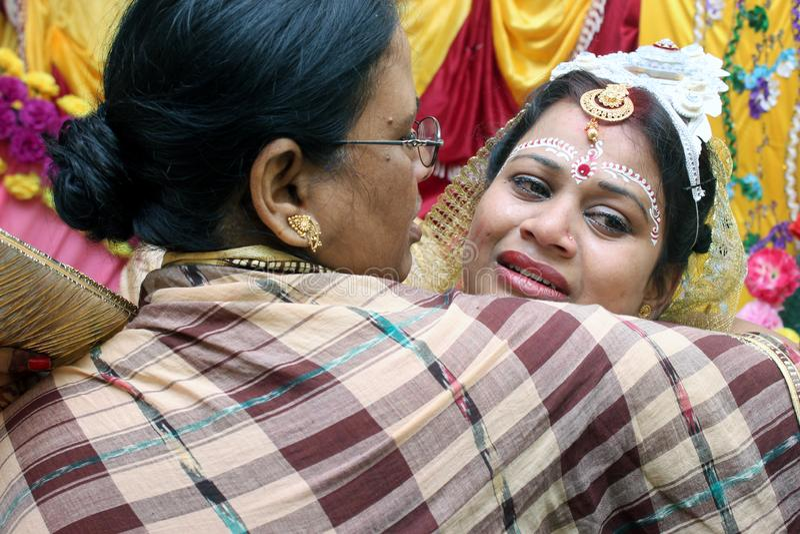 Brakuję ci mamusi Tradycyjni Bengalscy ślubni rytuały zupełnie znacząco i ciekawi obraz stock
