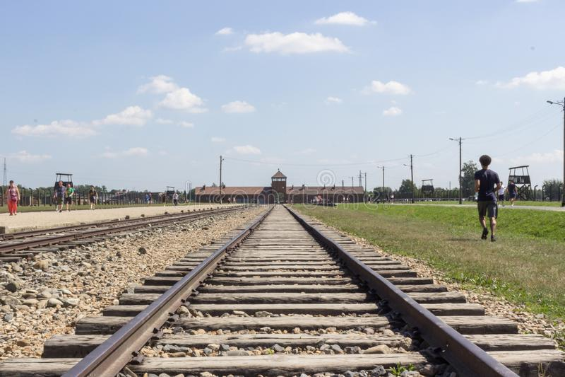 Brama śmierć w Birkenau obraz royalty free