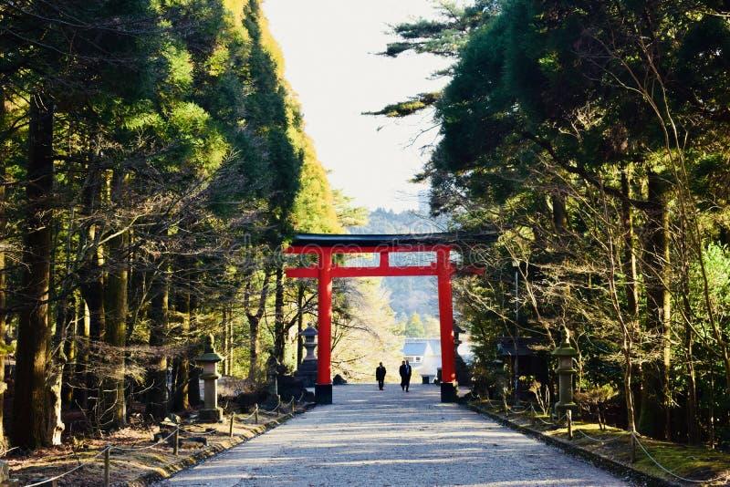 Brama świątynia w Kagoshima, Japonia, z mnóstwo zielonymi drzewami fotografia royalty free