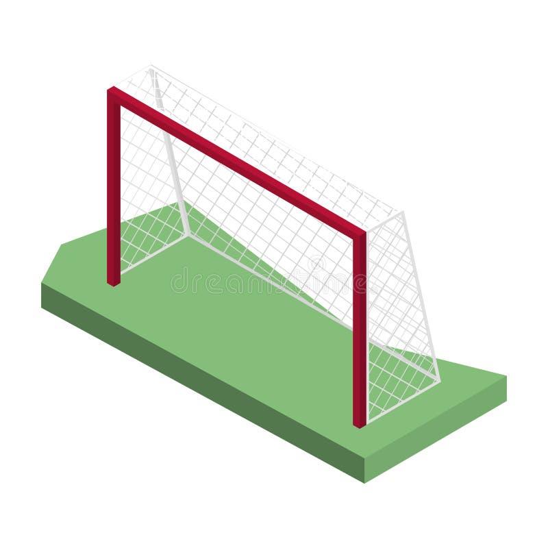 Brama dla bawić się piłkę nożną w isometric, wektorowej ilustraci, ilustracji