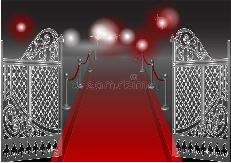 Brama i czerwony chodnik ilustracji