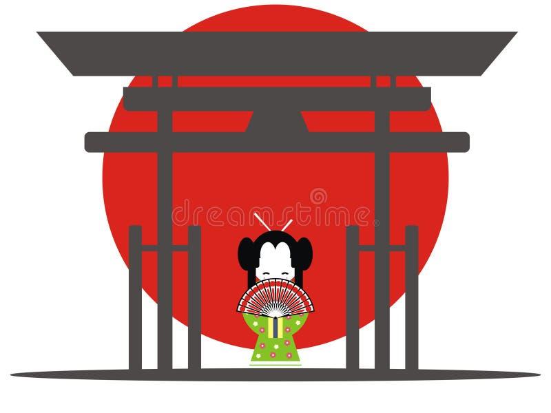 brama japończyk royalty ilustracja