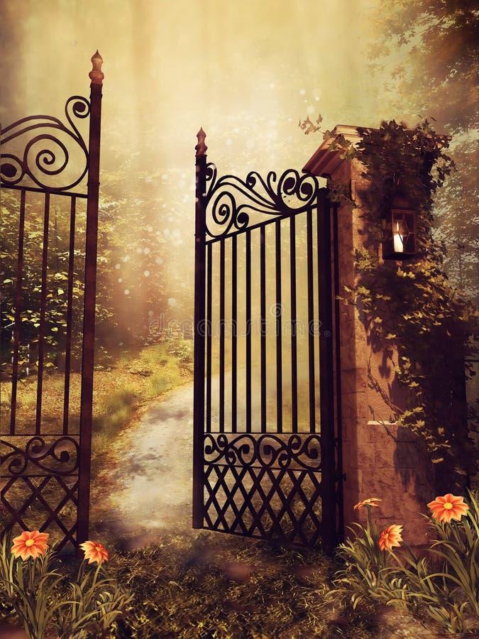 Brama jesień ogród ilustracji