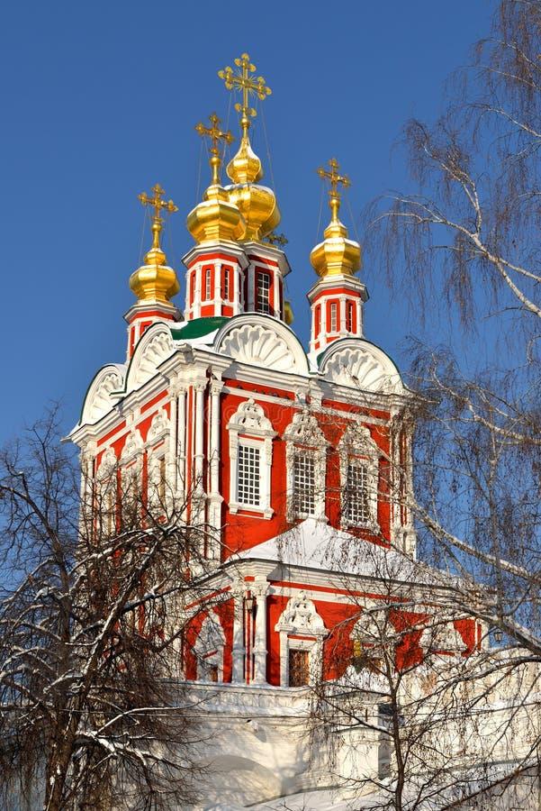 Brama kościół Novodevichy klasztor zdjęcia royalty free