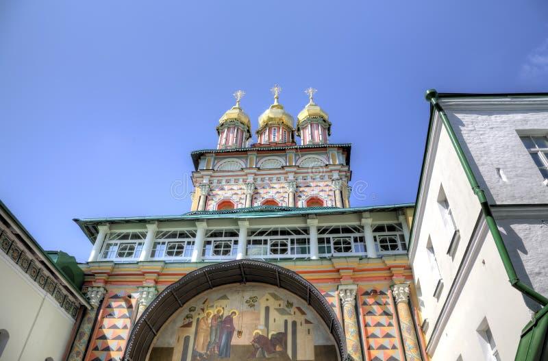 Brama kościół St John Baptystyczny Świętej trójcy St Sergius Lavra obraz royalty free