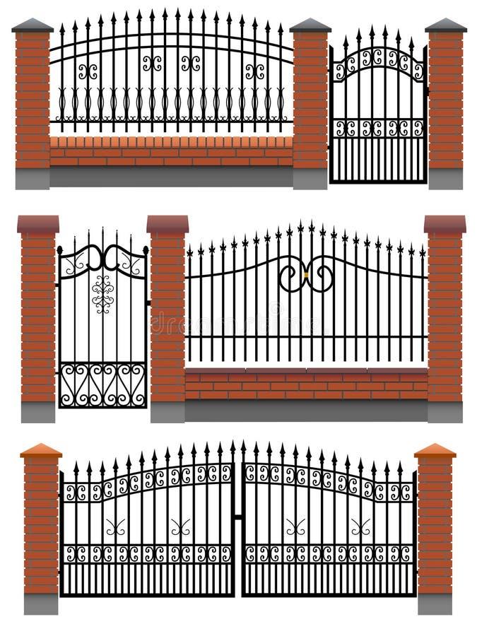 Brama ogrodzenia z cegłami i metal kratownica. royalty ilustracja