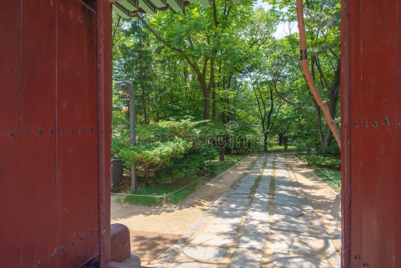 Brama otwiera święta ścieżka, Jongmyo świątynia, Seul zdjęcia royalty free