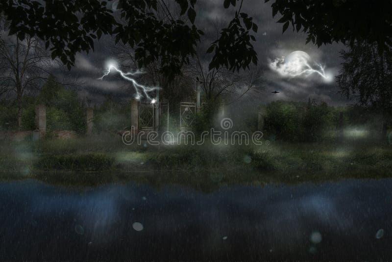 Brama przy Dżdżystą nocą ilustracja wektor