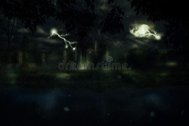 Brama przy Dżdżystą nocą ilustracji