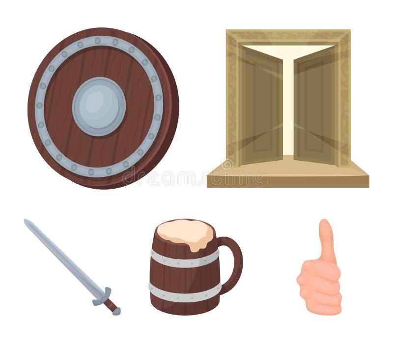 Brama skarb, osłona dla ochrony, kubek z stanikiem, kordzik Wikingowie ustalone inkasowe ikony w kreskówce royalty ilustracja