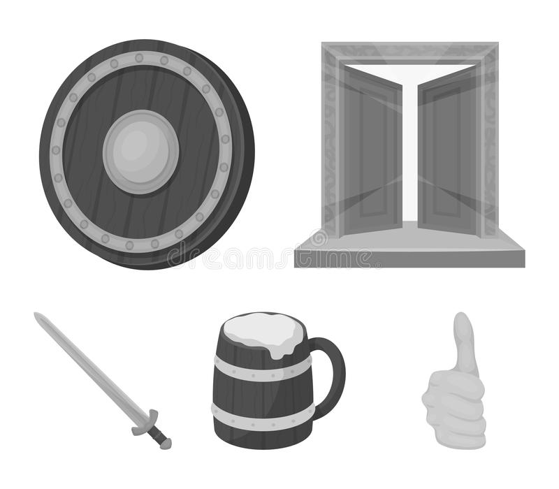 Brama skarb, osłona dla ochrony, kubek z stanikiem, kordzik Wikingowie ustalone inkasowe ikony w monochromu ilustracja wektor