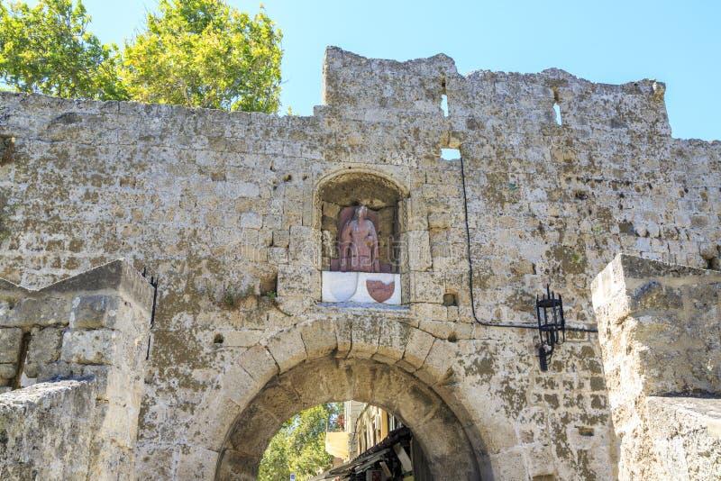 Brama St Antonios blisko pałac uroczysty mistrz rycerze fotografia stock