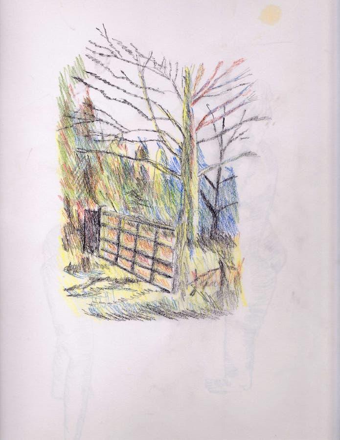 Brama w drewnach ilustracji