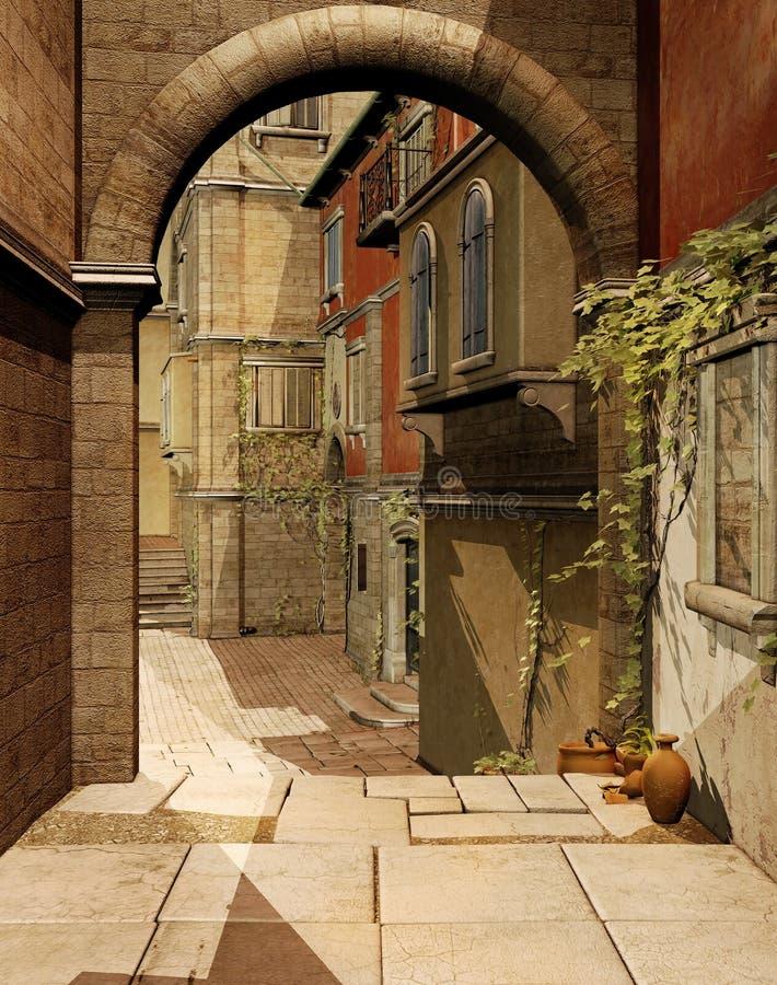Brama w pogodnej ulicie ilustracja wektor