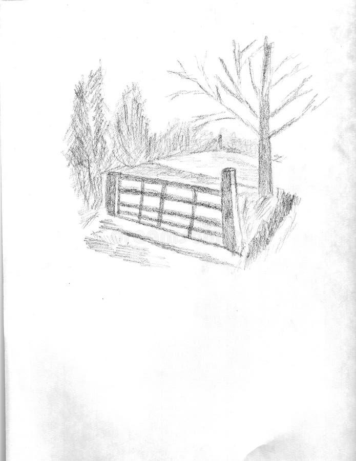 Brama w polu royalty ilustracja