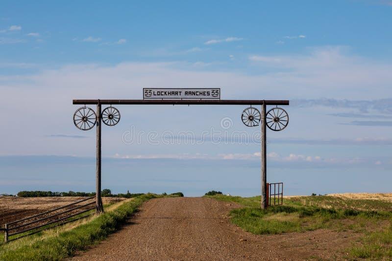 Brama w prerii gospodarstwo rolne w Kanada fotografia royalty free