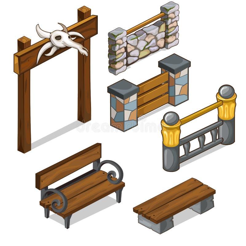 Brama z czaszką, set ogrodzenia i ławki, wektor ilustracji