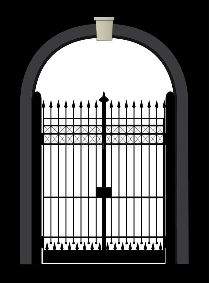 Brama Z metal bramą I Kamiennymi ścianami ilustracji