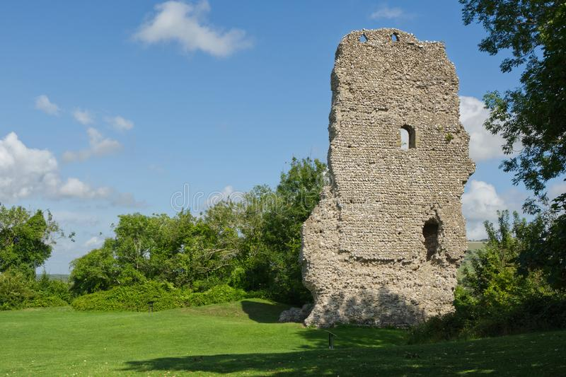 Bramber Castle, West Sussex, England. Ruined castle at Bramber in West Sussex, England stock photos