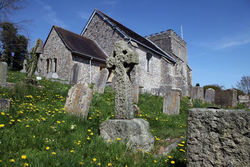 Bramber medioevale della parrocchia dell'Inghilterra della chiesa immagine stock