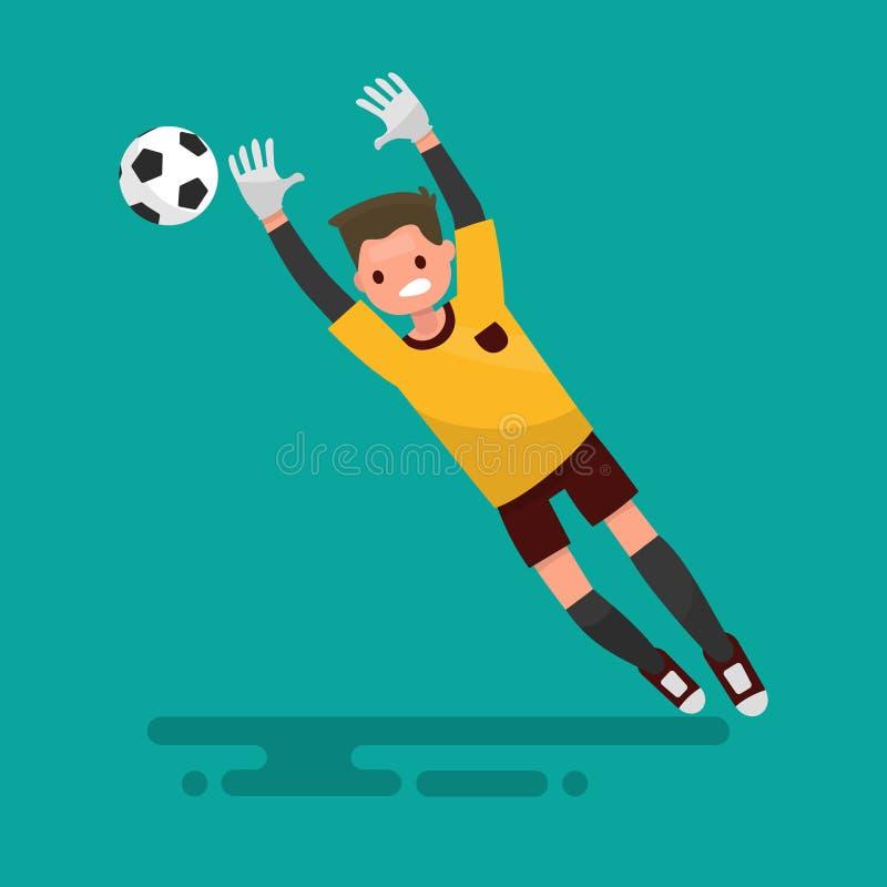 Bramkarz łapie piłkę Futbol również zwrócić corel ilustracji wektora ilustracji