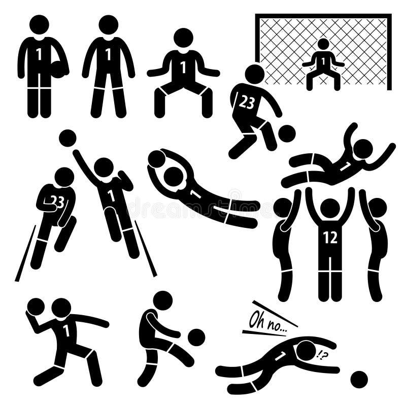 Bramkarz akcj Futbolowa piłka nożna Cliparts royalty ilustracja