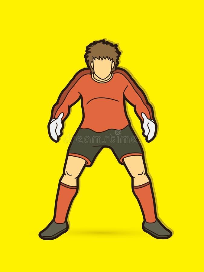Bramkarz akcja, przygotowywa chwytów piłka ilustracja wektor