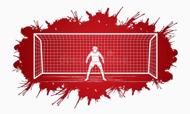Bramkarz akcja, przygotowywa chwytów piłka ilustracji