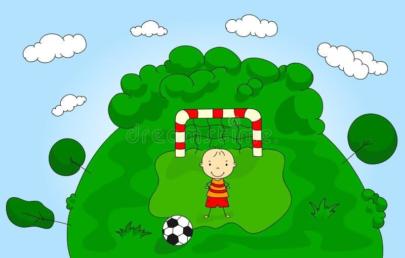 Bramkarz chłopiec pozycja przy bramą z piłką ilustracji