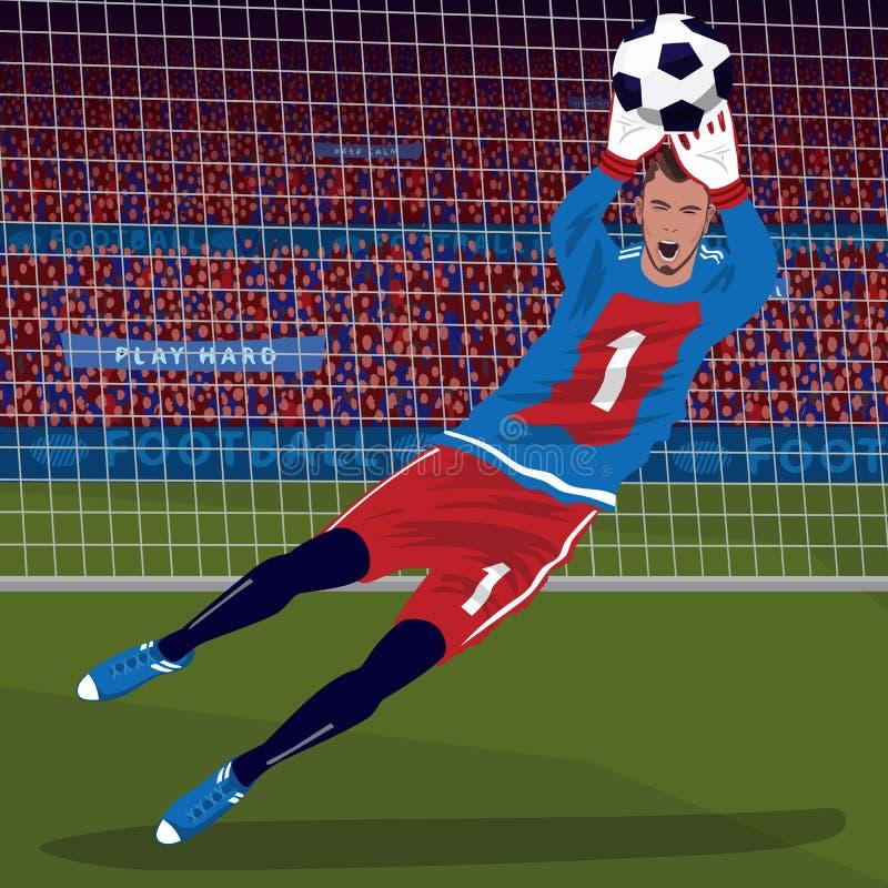 Bramkarz chwytająca piłka w spadku ilustracji