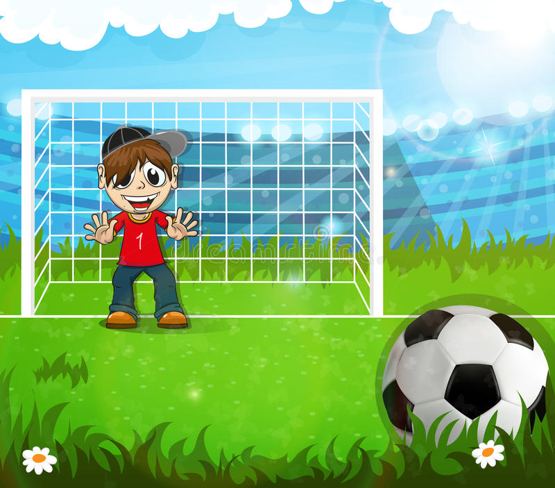 Bramkarz czeka uderzający piłkę royalty ilustracja