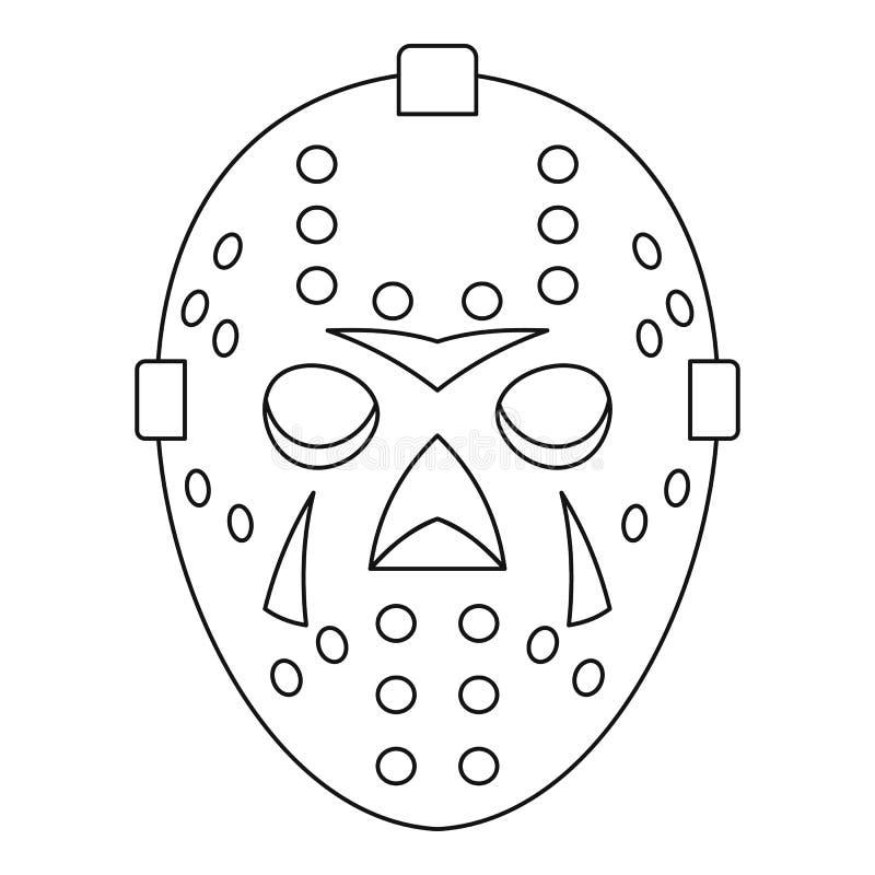 Bramkarz maskowa ikona, konturu styl royalty ilustracja
