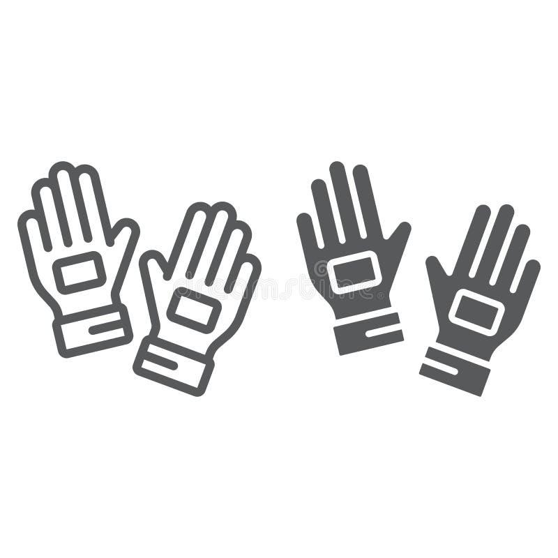 Bramkarz rękawiczek linia i glif ikona, odzieżowy i futbolowy, piłek nożnych rękawiczki podpisujemy, wektorowe grafika, liniowy w ilustracji