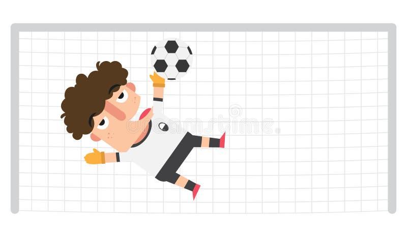 Bramkarz ratuje piłki nożnej piłkę na ewentualnym celu ilustracji