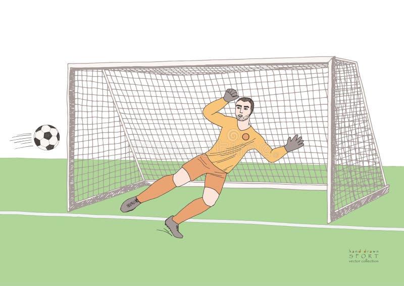 Bramkarza doskakiwanie łapać piłki nożnej piłkę mecz futbolowy Młody sportowy mistrz Ręka rysujący wektorowy płaski miękki kolor royalty ilustracja