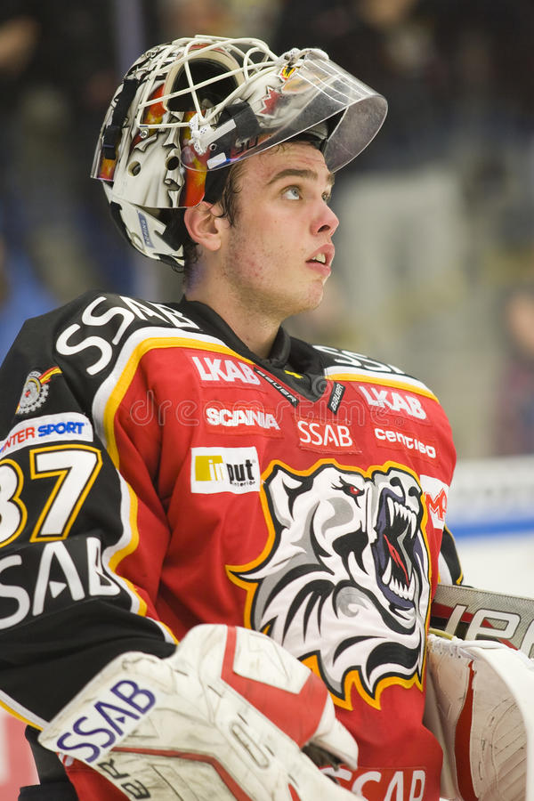 bramkarza gustafsson hokeja lód Johan obrazy royalty free