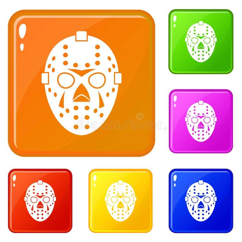 Bramkarza maskowe ikony ustawiający wektorowy kolor ilustracji