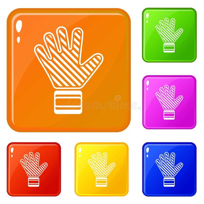Bramkarza rękawiczkowe ikony ustawiający wektorowy kolor royalty ilustracja