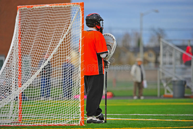 bramkarza strażowa lacrosse pozycja zdjęcia stock