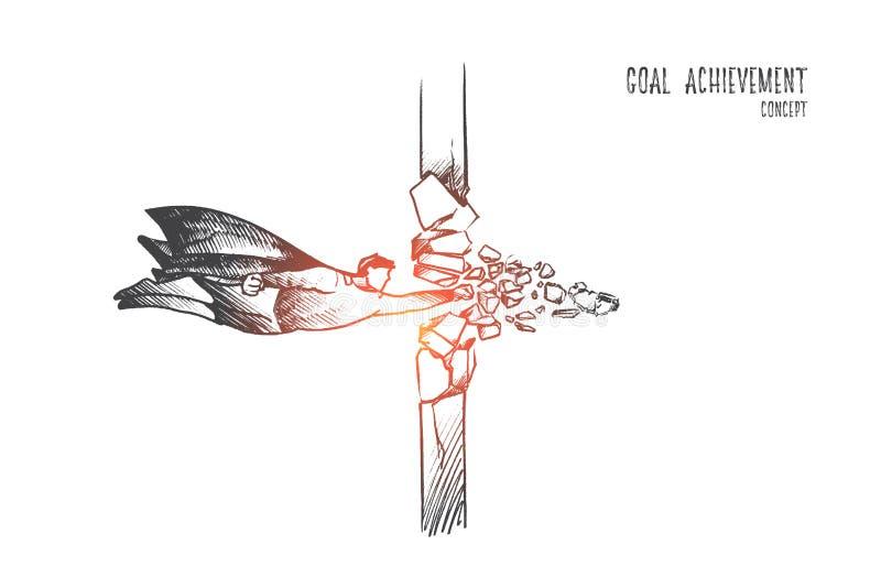 Bramkowy osiągnięcia pojęcie Ręka rysujący odosobniony wektor ilustracji