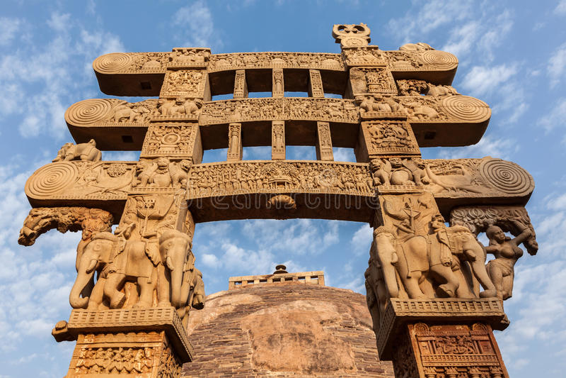 Bramy dekoraci Wielka stupa. Sanchi, Madhya Pradesh, India zdjęcie stock