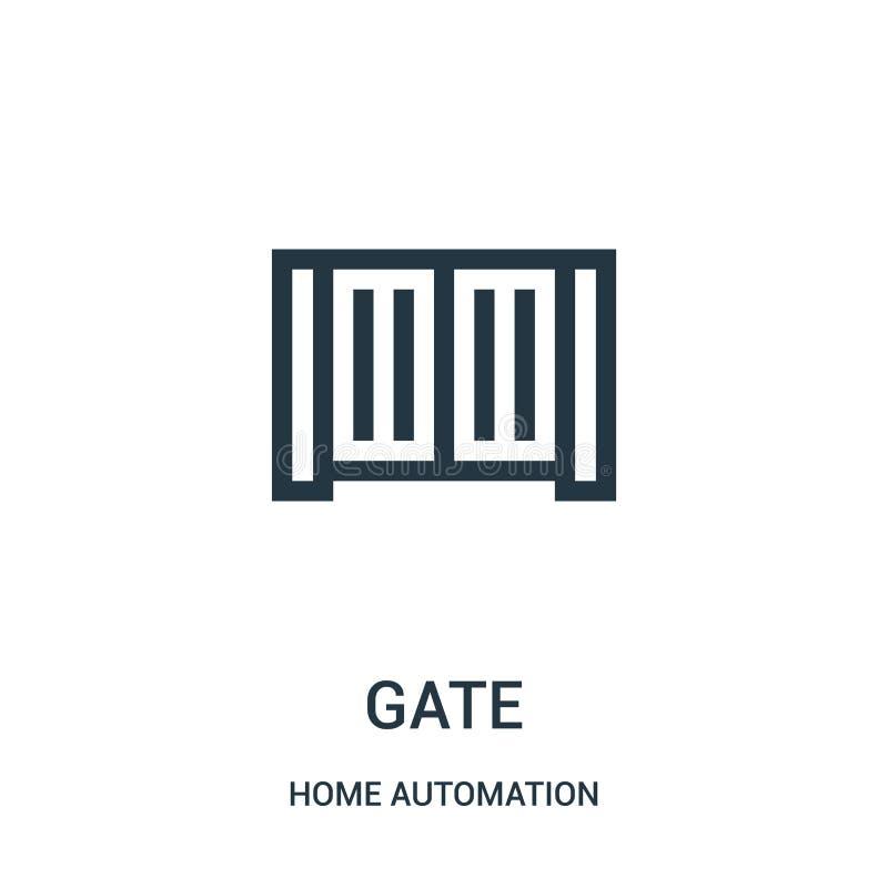 bramy ikony wektor od domowej automatyzacji kolekcji Cienka kreskowa brama konturu ikony wektoru ilustracja Liniowy symbol ilustracji