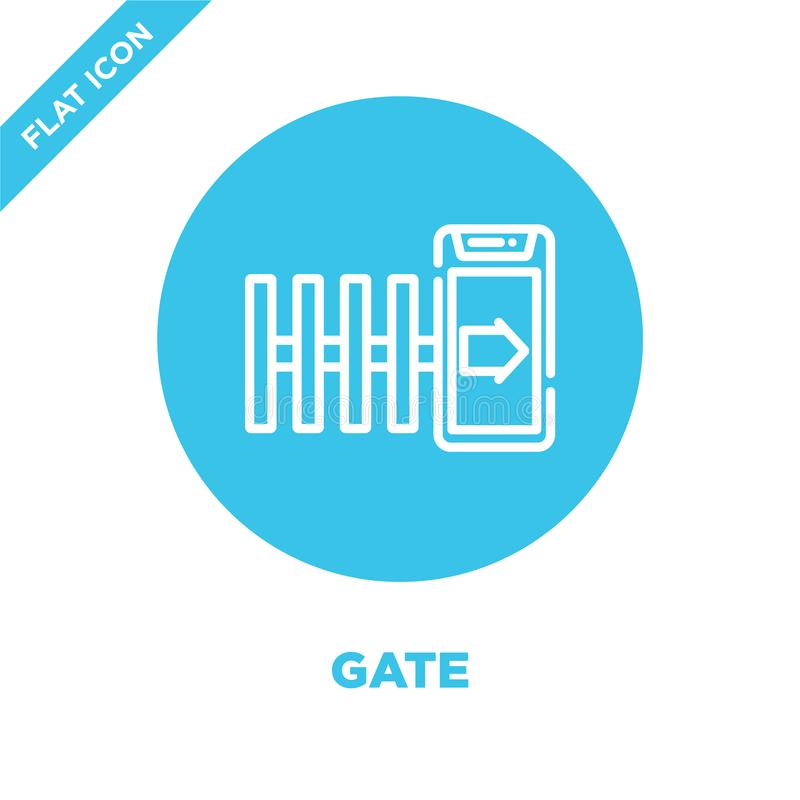 bramy ikony wektor od mądrze domowej kolekcji Cienka kreskowa brama konturu ikony wektoru ilustracja Liniowy symbol dla używa na  ilustracji
