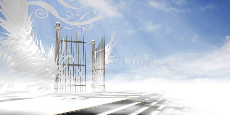 Bramy niebo z skrzydłami royalty ilustracja