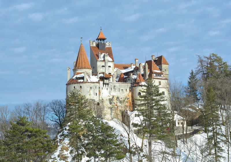 Bran Castle (also know as Dracula's Castle). In winter stock photo
