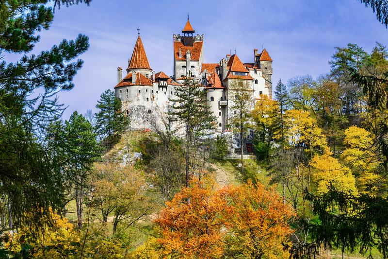 Bran Castle, Brasov, Transylvania, Romania. Autumn landscape wit. H fortress at the border between Wallachia and Transylvania.It is also known for the myth of stock photography
