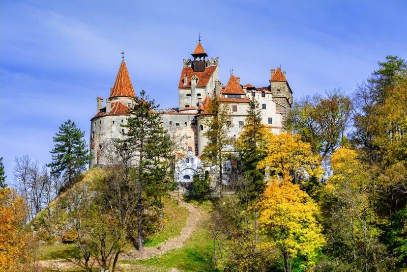Bran Castle, Brasov, Transylvania, Romania. Autumn landscape wit stock photos