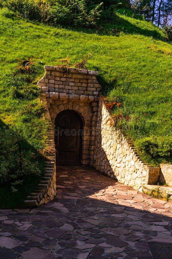 Bran Castle Castelul Bran. Old secret door of Bran Castle.  stock image