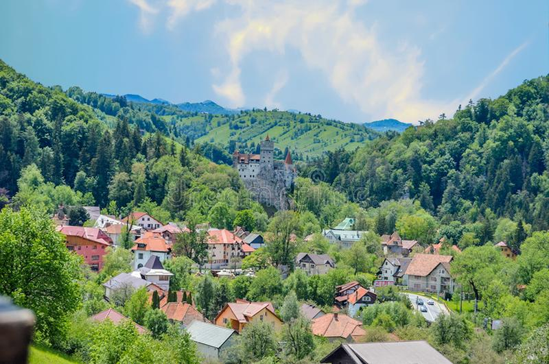 Bran Castle And The City Of Bran, Romania stock photo